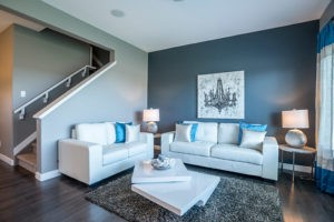 blue living room by Edmonton home builder City Homes