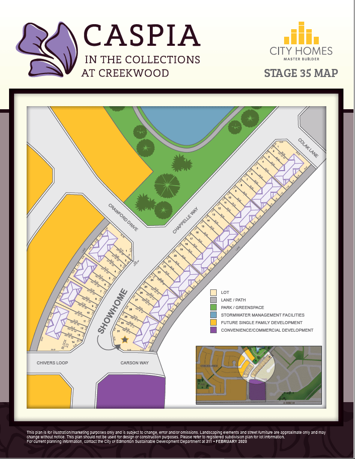 Map of Caspia Townhomes in South Edmonton