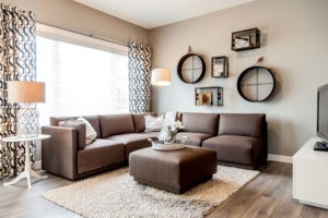 Duplex living room by City Homes, Edmonton new home builder