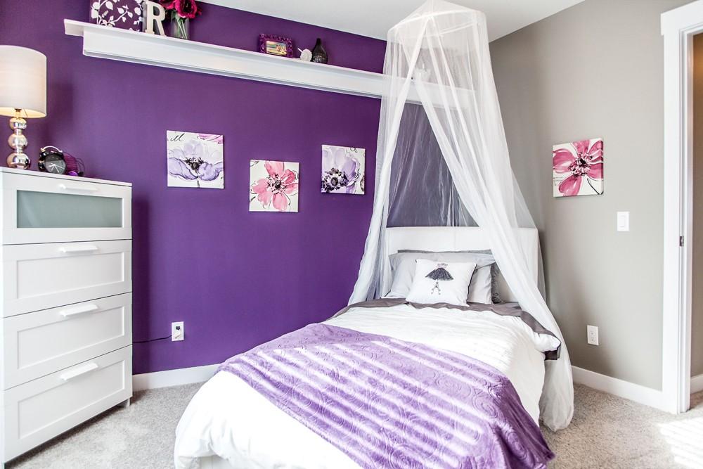 Purple bedroom by City Homes, Edmonton new home builder