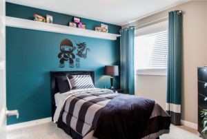 Green designer bedroom by City Homes, Edmonton new home builder