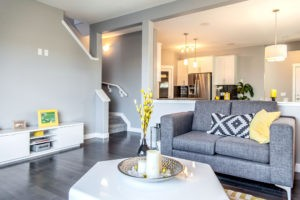 Designer living room by City Homes, Edmonton new home builder