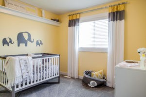 Yellow nursery by City Homes, Edmonton new home builder