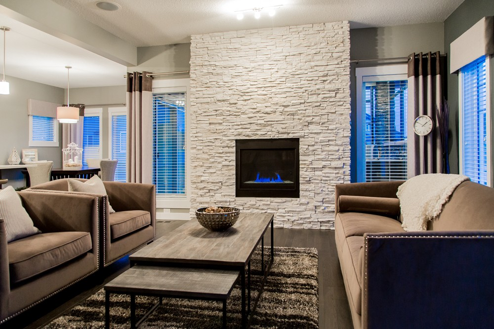 Single family home living room by City Homes Master Builder