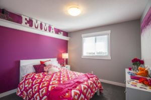 Designer girls room by new home builder City Homes Master Builder, Edmonton