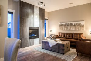 Tiled Fireplace and living room in Edmonton by new home builder City Homes
