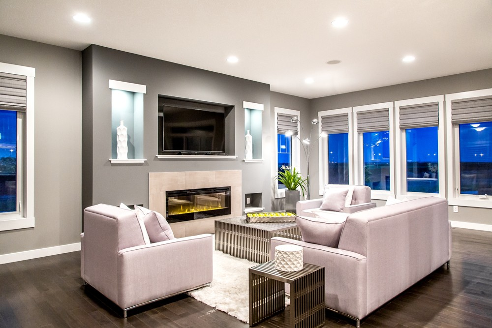 Single family living room by new home builder City Homes Master Builder