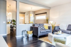 Duplex living room in Edmonton from City Homes Master Builder