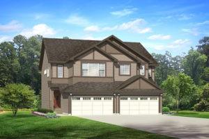 Double attached garage duplex in Edmonton, City Homes Master Builder new home builder