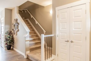 Staircase in duplex home, Edmonton Alberta, built by new home builder City Homes