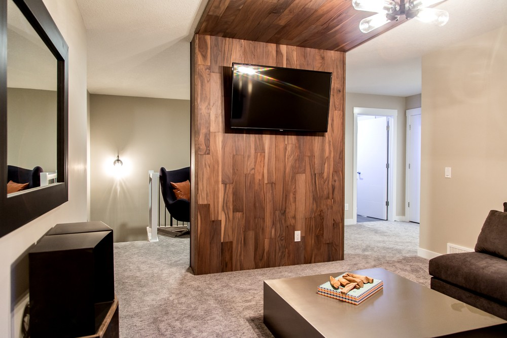 Feature wall and bonus room in single family home