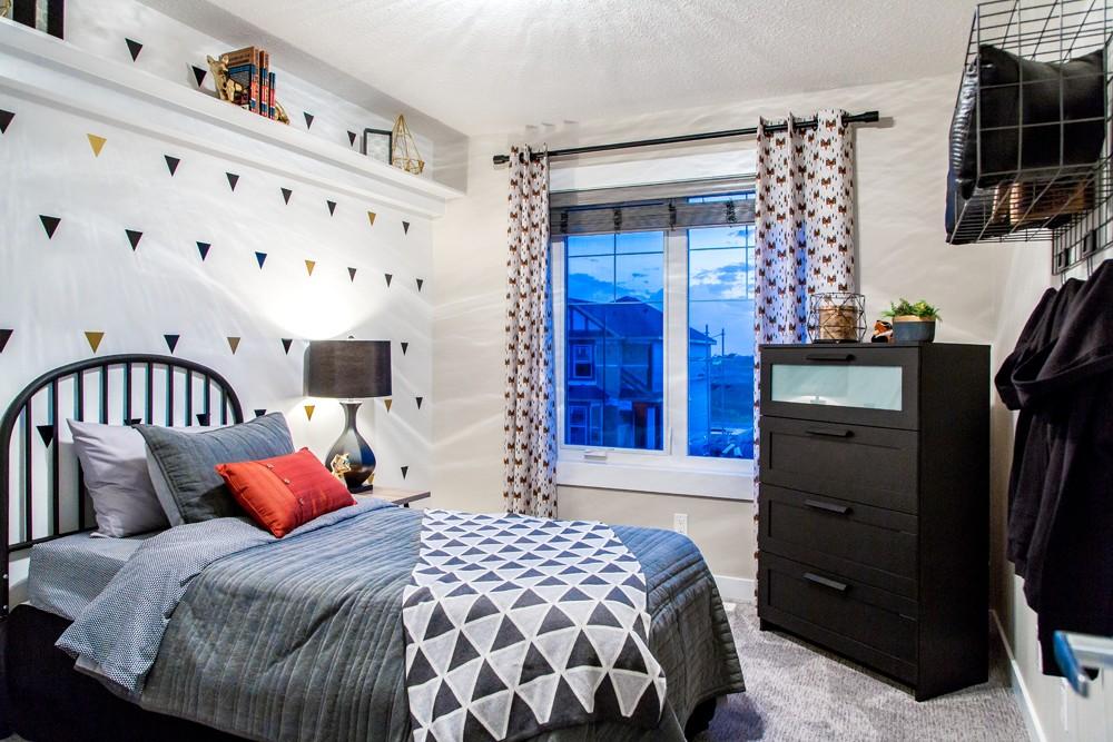 Bedroom in single family home Edmonton, new home builder City Homes Master Builder