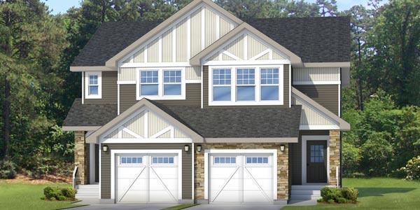 Attached garage duplex in Edmontonbuild by New Home Builder City Homes