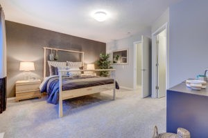 Caspia townhome master bedroom in south edmonton by City Homes Master Builder