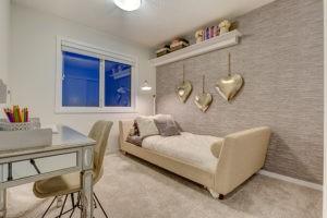 Bedroom in Caspia townhome in South Edmonton