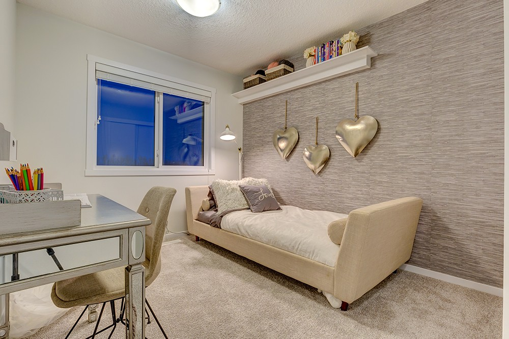 Bedroom in Caspia townhome in South Edmonton
