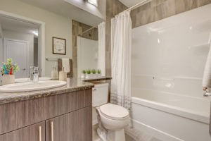 Main bathroom of Caspia townhomes in South Edmonton