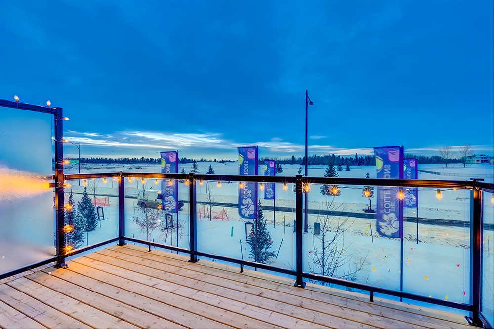 Deck view from Caspia townhomes in South Edmonton, from new home builder City Homes