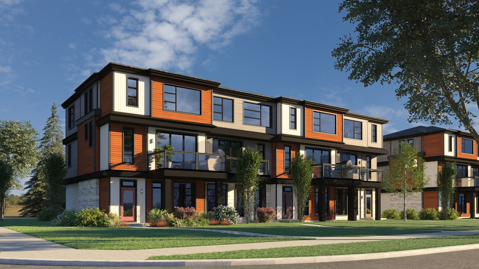 Exterior view of Caspia townhomes in south Edmonton
