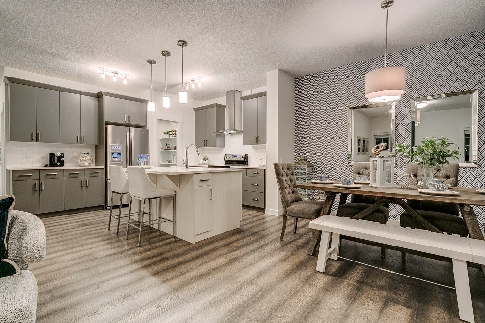 Duplex home designed by City Homes Master Builder in McConachie Solstice