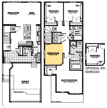 Attached garage single family home floor plan