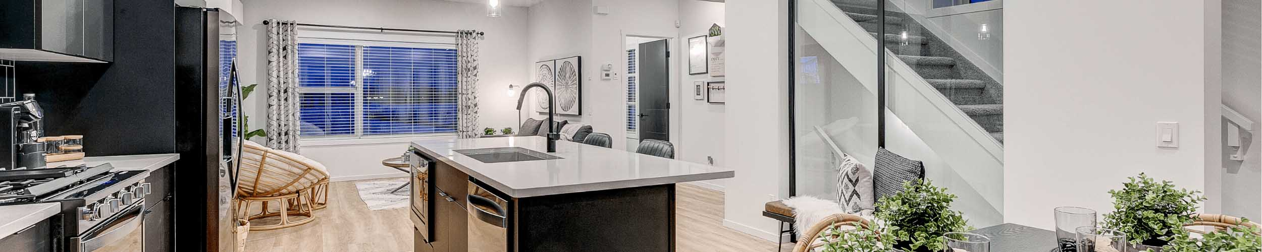 Bristol Kitchen for South Edmonton Townhome Promotion by City Homes Master Builder