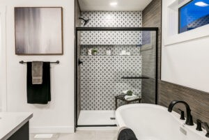 Edmonton's Best Home Builder does a tile to the ceiling double shower in ensuite